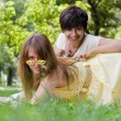 Two young girls having fun outdoors — Stock Photo #3491323