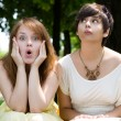Girls with funny facial expressions — Stock Photo