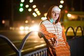 Teenage gang member at night — Stock Photo