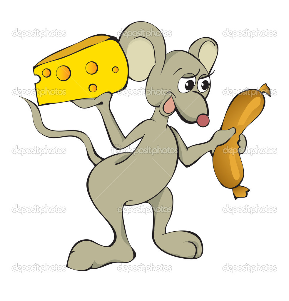 The fun mouse with cheese and hot-dog — Stock Vector #2713791