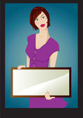 The girl with tablet on background — Vector de stock