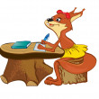 Stock Vector: Squirrel sits at school desk