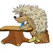 Stock Vector: Hedgehog sits at school desk