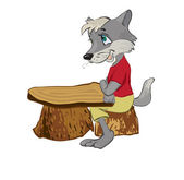 Wolf sits at a school desk — Stock Vector