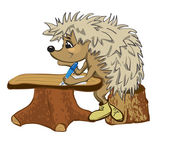 Hedgehog sits at a school desk — Stock Vector