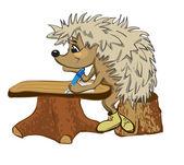 Hedgehog sits at a school desk — Stock Vector