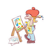 Artist painting at the easel — Stock Vector