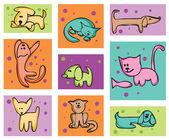 Kočky a psi. — Stock vektor
