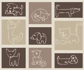 Cats and dogs. — Vector de stock