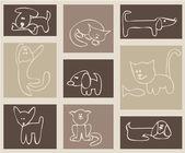 Katten en honden. — Stockvector