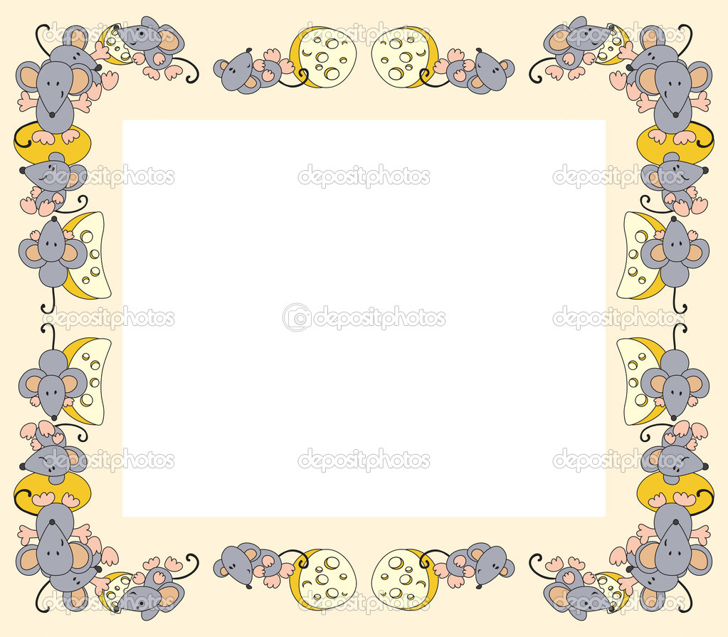 Photo frame made of mice with cheese — Stock Vector #2867181