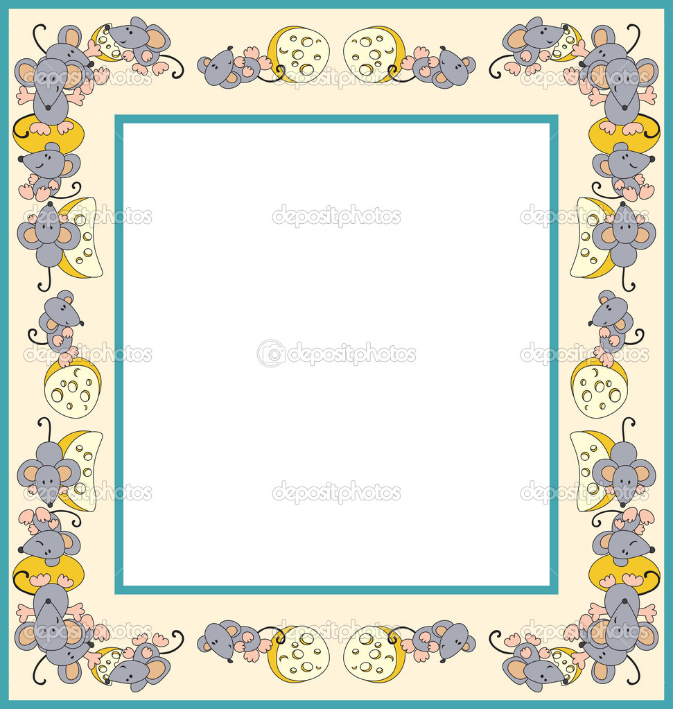 Photo frame made of mice with cheese — Stock Vector #2873728