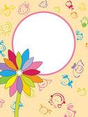 花の背景を持つフレーム — ストックベクタ