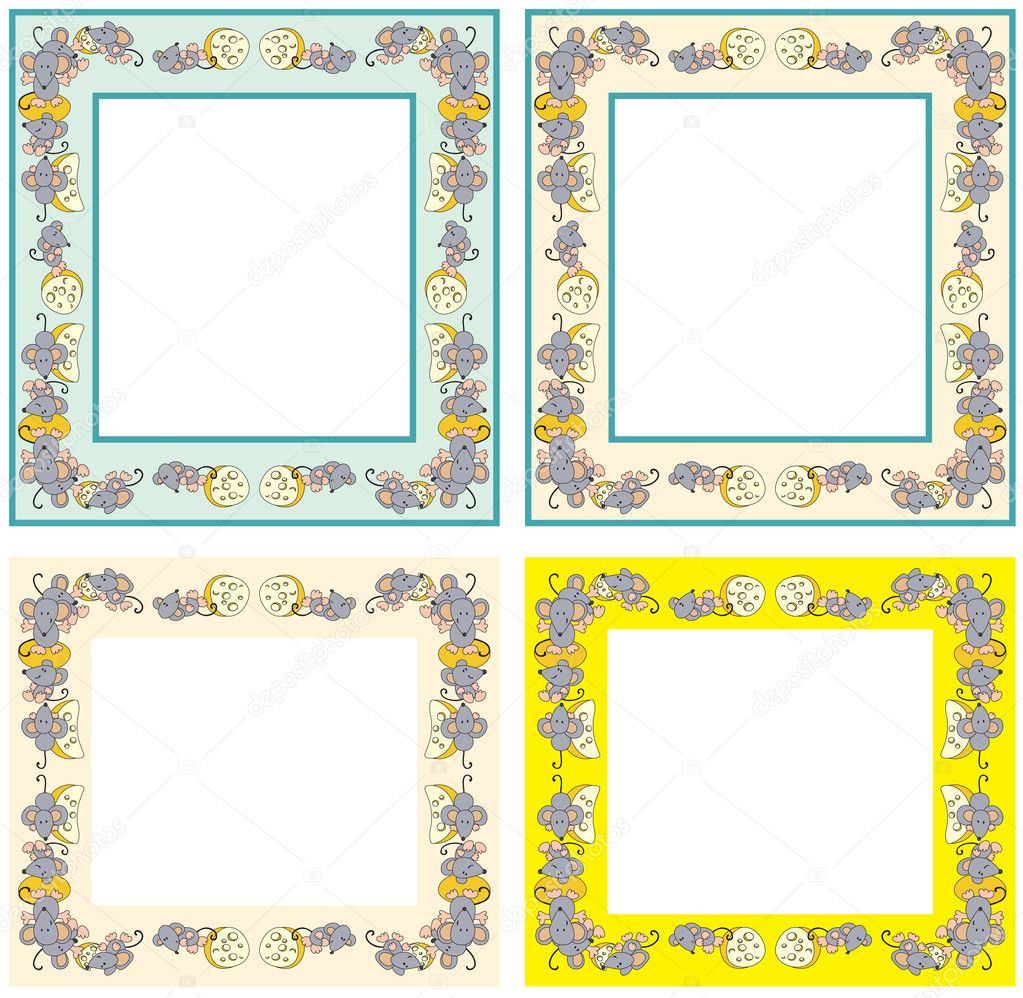 4 photo frame made of mice with cheese — Stock Vector #2914935