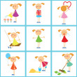 Seamless background. Set of girls - Stockvectorbeeld