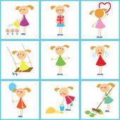 Seamless background. Set of girls — Stockvector