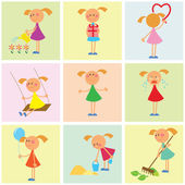 Seamless background. Set of girls — Vector de stock