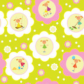Seamless background set of girls. — Vector de stock