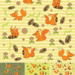 Four seamless background with squirrels — Imagen vectorial