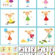 4 seamless backgrounds. Set of girls — Imagen vectorial