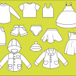 A set of different types of clothing. Contour drawing — Stock Vector