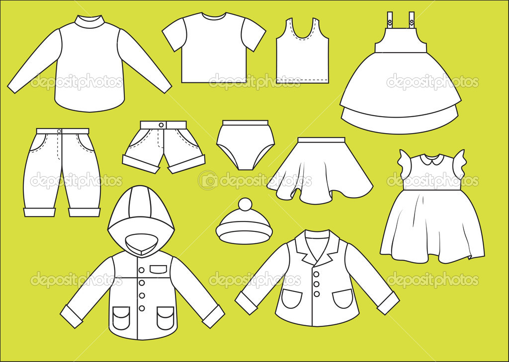 A set of different types of clothing. Contour drawing ...