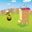 Hive and the bees — Stock Vector