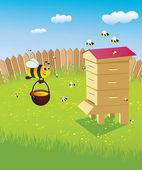 Colmena y las abejas — Vector de stock