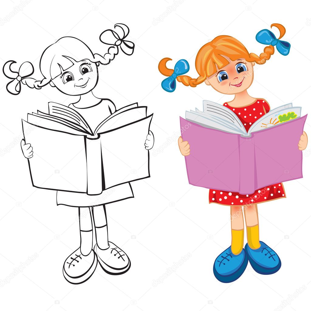 The girl reads the book. Contour and color — Stock Vector #3561398