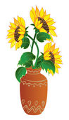Sunflower in vase — Stock Vector