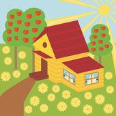 Jardim e casa bonita — Vetor de Stock