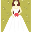 Stock Vector: Girl in wedding dress