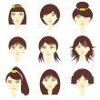 Girls with different hairstyles — Image vectorielle