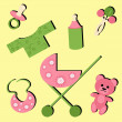 Set with objects for baby - Stock Vector