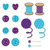 Set with needlework objects — Vector de stock