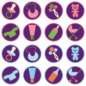 Set with baby objects icons — Stock Vector