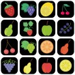 Royalty-Free Stock Vector Image: Set with icons with fruits and berries