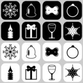 Icons with new year and christmas objects — Stock Vector