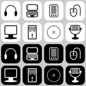 Set with computer icons — Stock Vector