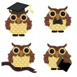 Royalty-Free Stock Vector Image: Four owls on white background