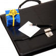 Royalty-Free Stock Photo: Black briefcase and gift