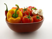 Vegetables in tureen — Stock Photo