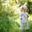Little baby in forest with maples leaves - Stock Photo
