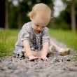 Little baby on the park alley — Stock Photo