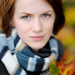 Young beautiful autumn lady — Stock Photo