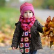 Little baby in an autumn park - Stockfoto