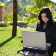 Stock Photo: Young lady with notebook in park