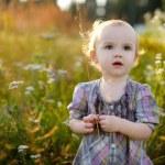 petit bébé gentil à pied dans une prairie — Photo