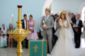 Orthodox wedding service — Stock Photo
