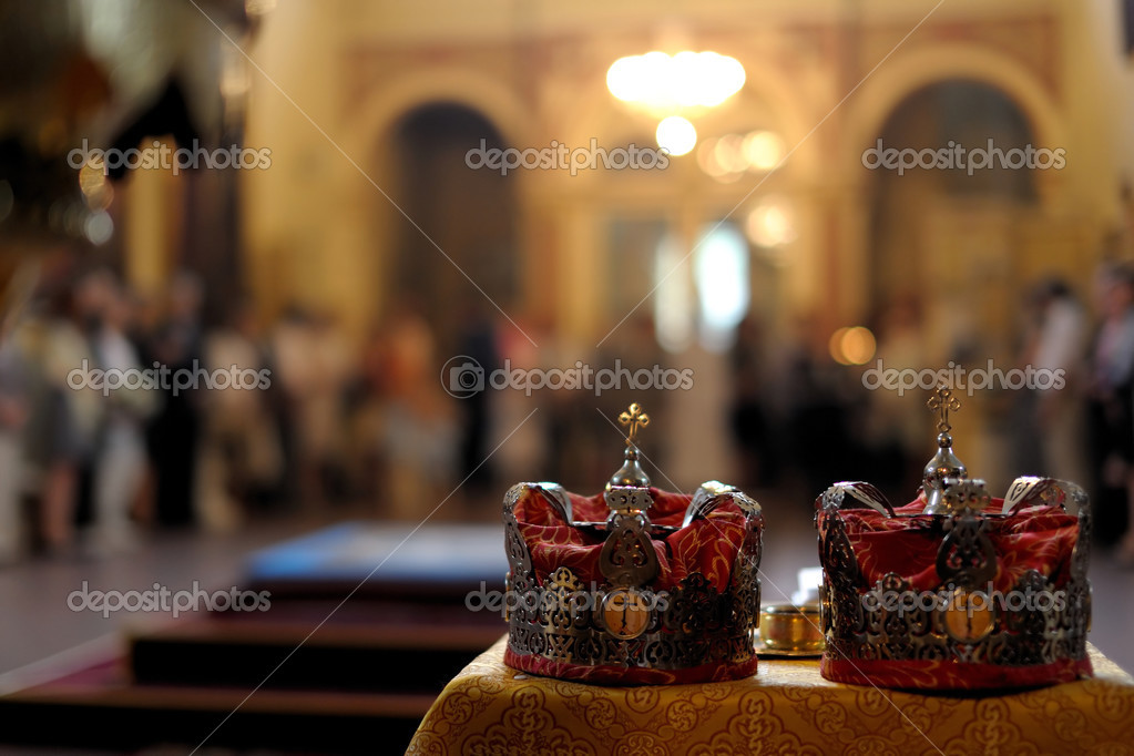 Orthodox wedding accessories including two crown  Stock Photo #3140207